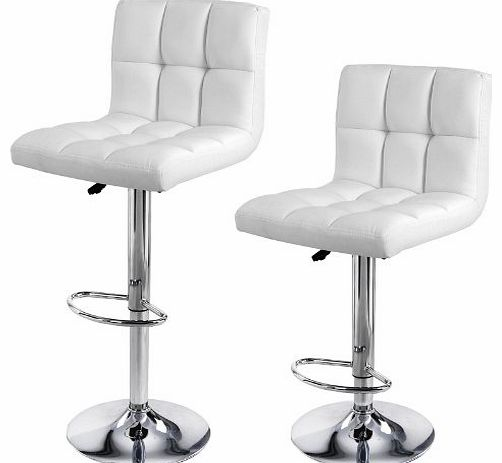 Songmics 2 x Breakfast Bar Stools with Backs White Faux Leather Kitchen Stools LJB64W