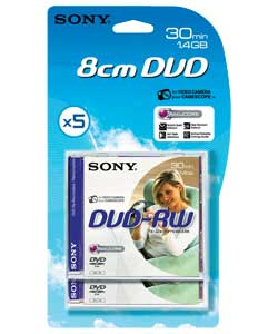 DVDRW 30 Minute Camcorder Tapes - 5 Pack
