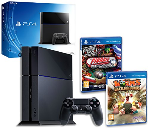 PS4 Console with Pinball Arcade & Worms Battlegrounds (PS4)