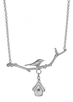 Silver Lovebird Branch Necklace By Sonya Bennett