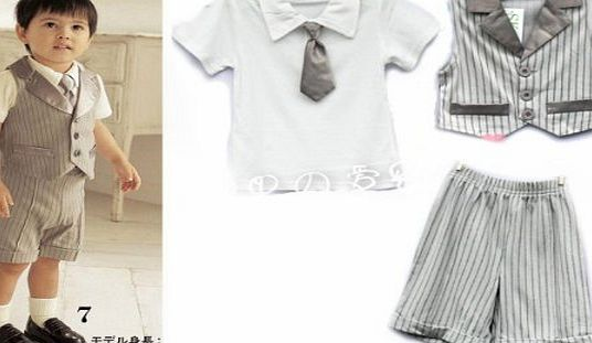 SOPO Baby Short Sleeve Gentlemen Suit with Bow Tie Formal Wear Summer Set (2-3y)