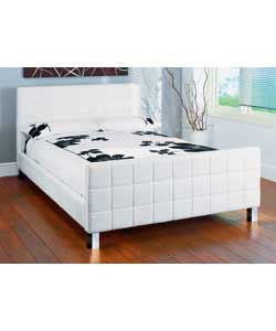 Double White Faux Leather Bed - Comfort Mattress