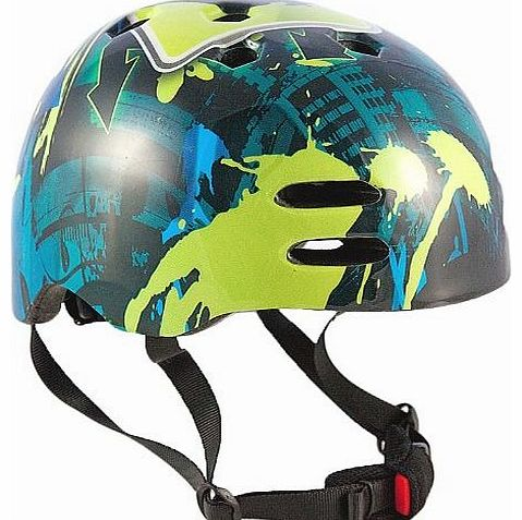Boys No Bounds BMX Helmet - Blue/Green, Size 55-58