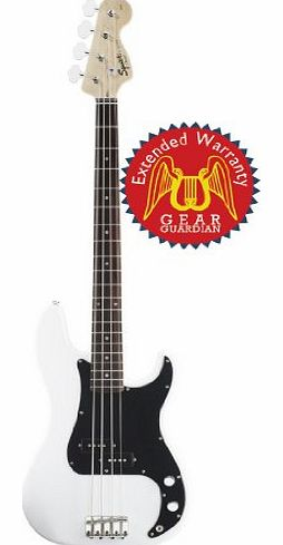 by Fender Affinity Precision Electric Bass Guitar, Rosewood Fretboard with Gear Guardian Extended Warranty - Olympic White