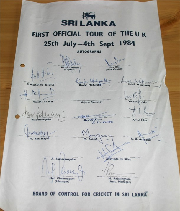 1984 TOUR TO ENGLAND TEAM SHEET