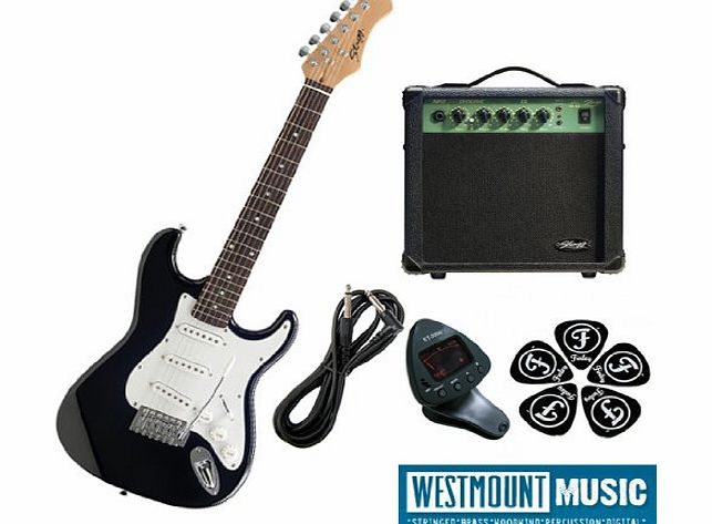 Stagg 3/4 Brand New Black Stagg S300 3/4 Electric Guitar Pack including Amp, Padded Gigbag, Guitar lead, Tuner
