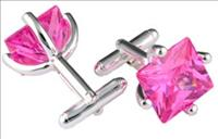 Stanislav Reymer Pink Square Crystal Cufflinks by Mousie Bean