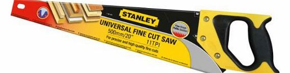 1x Stanley 20 Inch UNIVERSAL High Quality Fine Cut Saw - HEAVY DUTY 11TPI 500MM