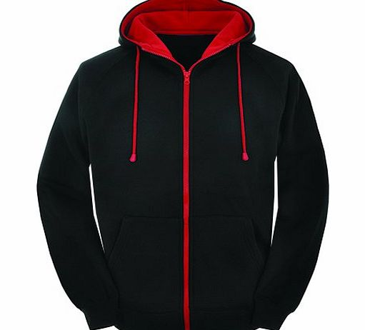 Star and Stripes LARGE Contast black and red zip varsity zip up hoodie