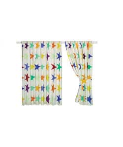 Pair of 66 x 54in Unlined Curtains - Multicoloured