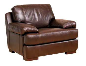 Boston Leather Armchair in Cabria Chocolate - Fast Delivery