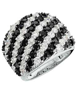 Silver Black and White Cubic Zirconia Band Ring