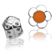 Silver Flower & Ladybug Charm 2 Pack