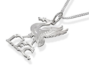 Silver Liverpool Liver Bird Pendant And