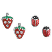 Silver Strawberry and Ladybird Earring