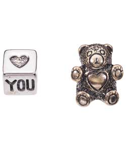 Silver Teddy Bear and I Love You Charms