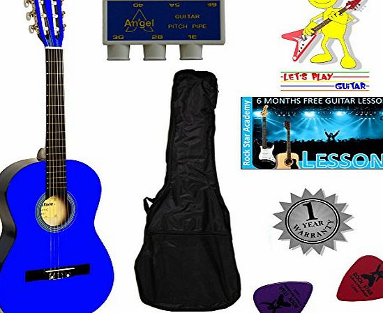 Stretton Payne Acoustic Guitar Package 1/4 Sized (31 inch) Classical Nylon String Childs Guitar Pack Blue
