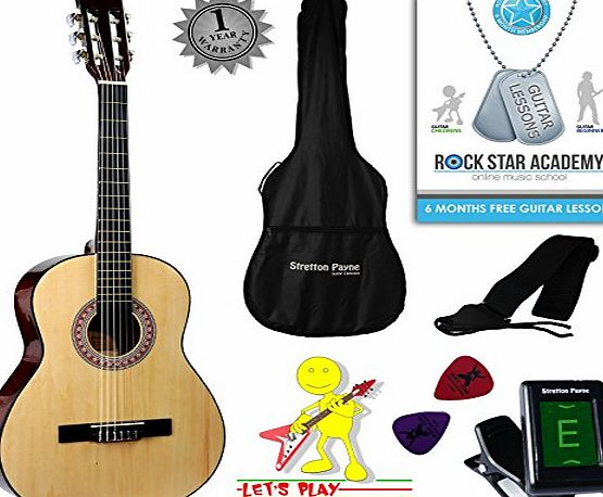 Stretton Payne Acoustic Guitar Package 3/4 Sized (36 inch) Classical Nylon String Childs Guitar Pack Pink