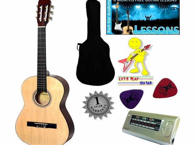 Stretton Payne Left Hand Acoustic Guitar Package 3/4 Sized (36 inch) Classical Nylon String Childs Guitar Pack Natural