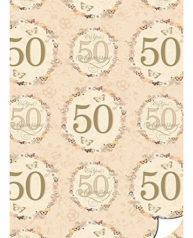 2 Sheets Golden 50th Wedding Anniversary Wrapping Paper & 1 Matching Gift Tag