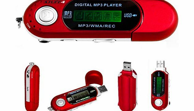 Stuff4® Red 4GB Pocket USB MP3 Player, Voice Recorder - Battery Powered, 3.5mm Jack Output, Includes Headphones