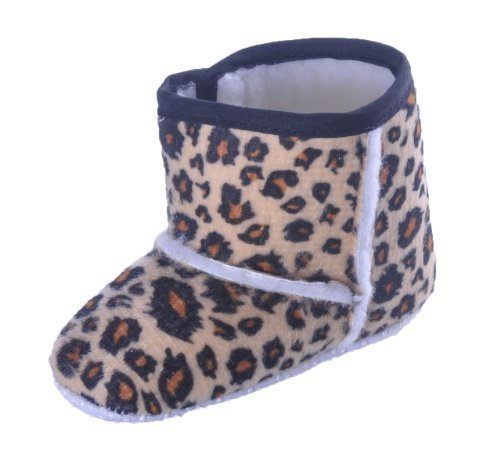 Girls Crib Baby Boots Warm Fleece Lined Animal Print - Leopard - 6-9 Months