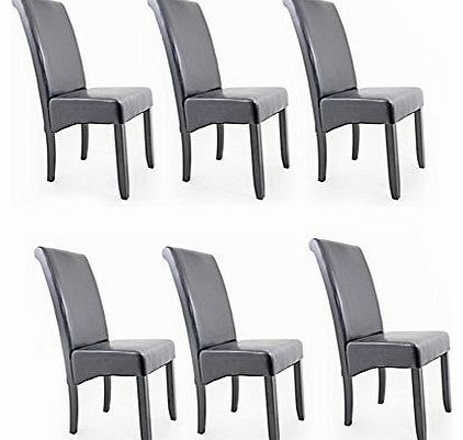 Contemporary Faux Leather Dining Room Chair - Black - Set Of 6