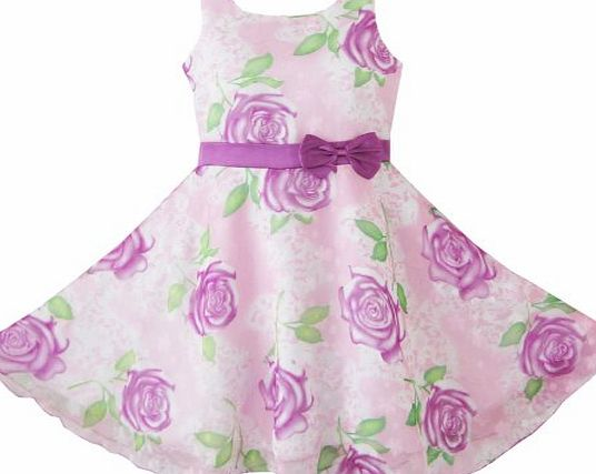 Sunny Fashion BN91 3 Layers Girls Dress Puple Flower Pageant Wedding Child Clothes Size 4-5