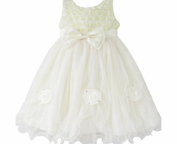 Sunny Fashion By53 Girls Dress Rose Flower Cream Wedding Pageant Party Kids Clothes Size 6 White
