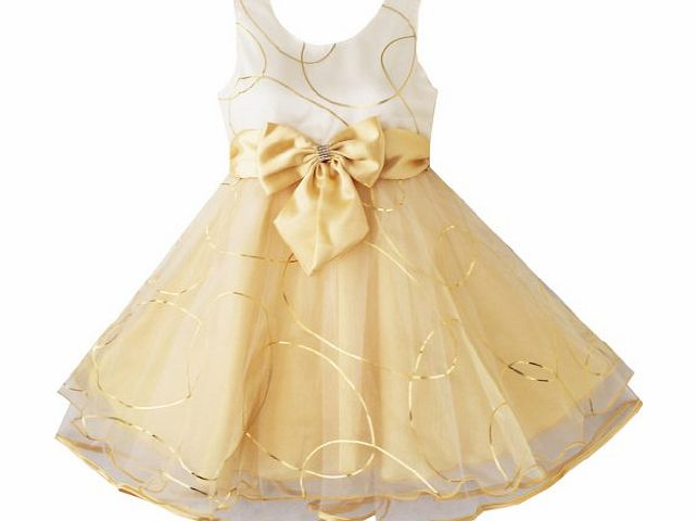 Sunny Fashion Cb12 Girls Dress Champagne Multi-Layers Wedding Pageant Kids Clothes Size 4-5 Gold