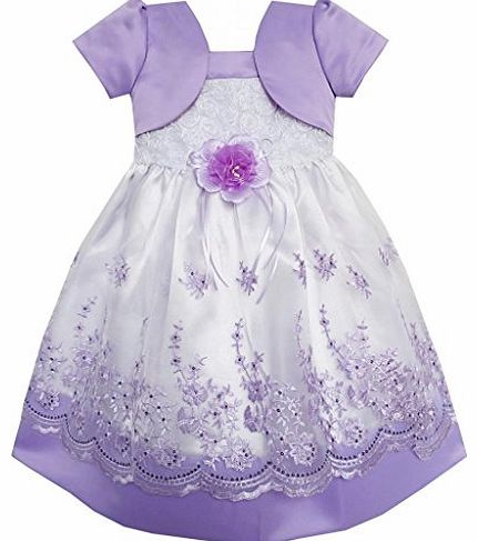 Sunny Fashion CX74 2-in-1 Girls Dress Purple Pageant Lace Flower Wedding Party Kids Clothes Size 4-5