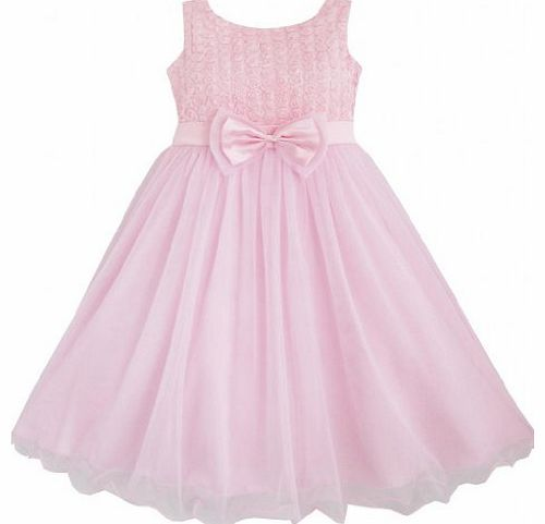 Sunny Fashion DF15 Girls Dress Rose Flower Pink Wedding Bridesmaid Child Clothes Size 9-10