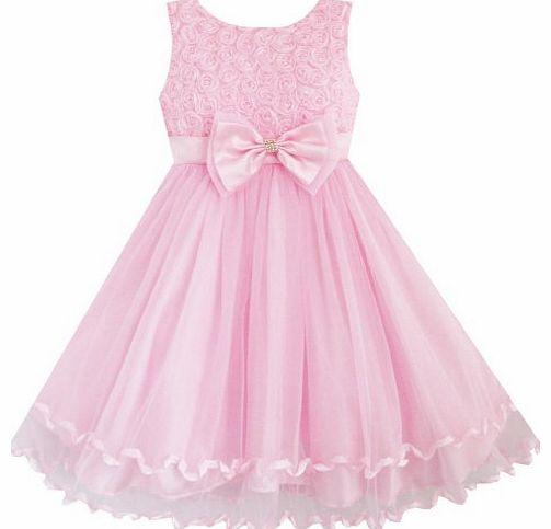 Sunny Fashion Girls Dress Pink Rose Bow Tie Belt Wedding