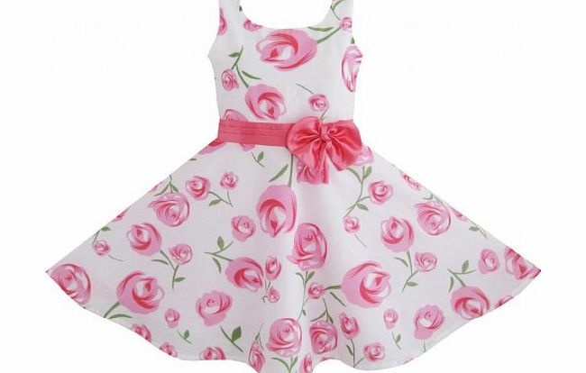 Sunny Fashion Girls Dress Pink Rose Flower Wedding Pageant Child Clothes Size 4-5 Years