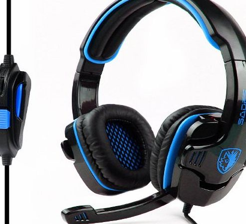 TM) SADES SA-708 3.5mm Stereo Headset Headphones Gaming Headset Stereo Headset Headband Sa-708 Pro Game Earphone Bass Headphones with Microphone for Pc Laptop Mobile-Blue