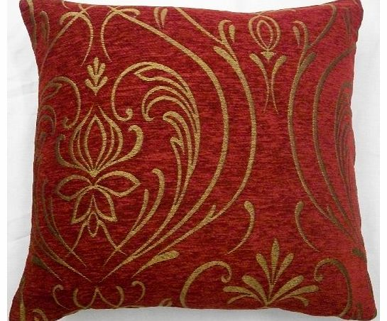 Luxurious Red/Wine Chenille Cushion Cover with Gold Regency Design in Small