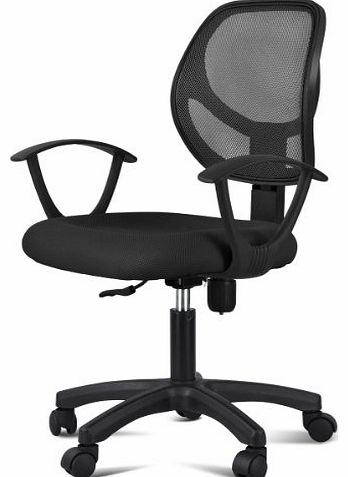 SWT Black Mesh Seat Fabric Chrome Executive Office Computer Desk Chair