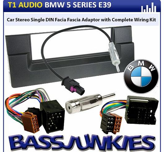 - BMW 5 Series E39 Car Stereo Radio Single DIN Facia Fascia Adaptor with Complete Wiring Kit - Black
