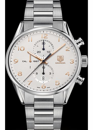 gents silver bracelet chronograph watch