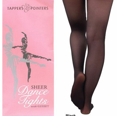 Tappers & Pointers Girls Ballet Tights in Pink, White or Black for Dance, Tap - Great Dancewear (6-7 Years, Black)
