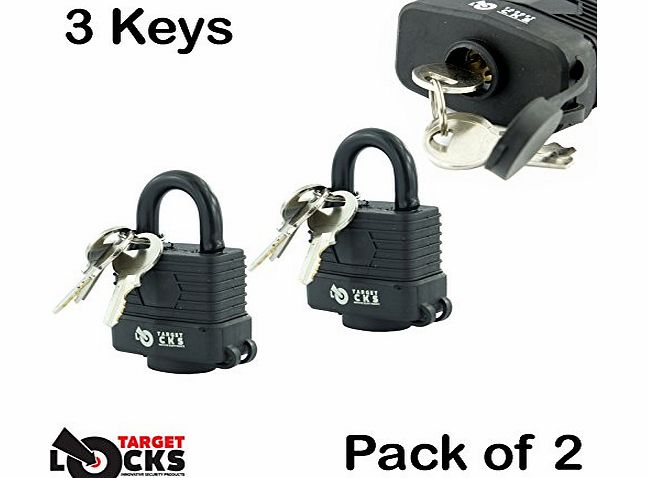 Brand New - Pack of 2 x Waterproof Weatherproof Heavy Duty Padlocks - 2 Keys Per Lock - Million Key Combinations for Maximum Security - Designed to Use Outdoors - Garage / Sheds / Bikes / Vans - Water