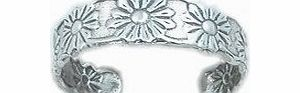 925 Sterling Silver adjustable Toe Ring Daisy Flower Design
