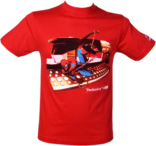 Mens Swinging Spiderman Red T-Shirt from