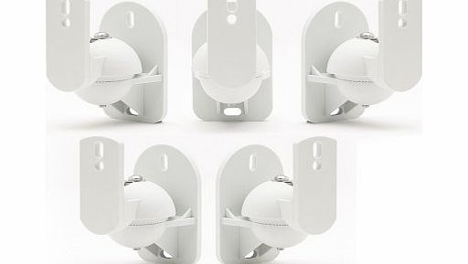 Technology Solutions TechSol 5 Pack of White Universal Speaker Wall Mount brackets