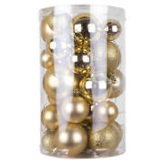 30 Mixed Baubles - Gold
