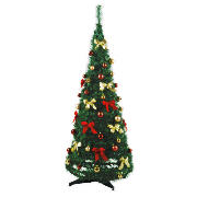 4ft pop up tree with decorations, green