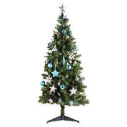 6Ft Tree With Blue/ Silver Decorations