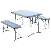 Aluminium Table with 2 Benches