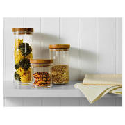 Bamboo and Acrylic Storage 3 Piece Set