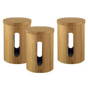 bamboo small storage canisters, set of 3